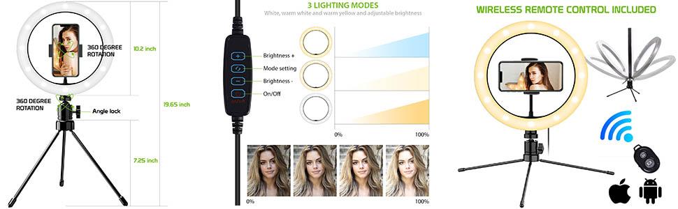 Selfie stick photography accessories ring light live stream universal lighting studio phone holder