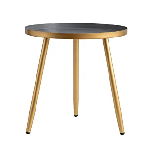 Amazon Com Round Side Table Metal End Table Nightstand Small Tables For Living Room Accent Tables Cheap Side Table For Small Spaces Gold Gray By Aojezor Kitchen Dining