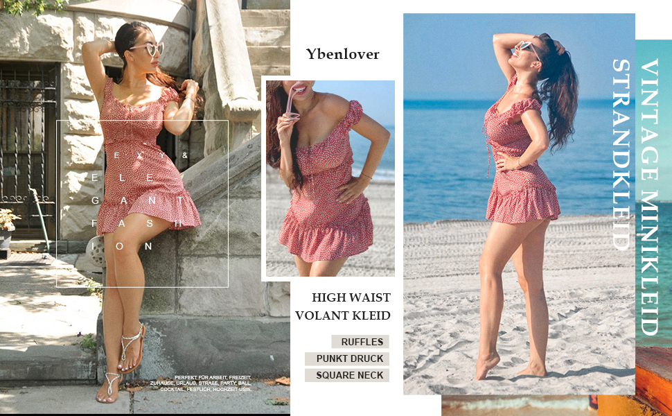 Damen Blumen Sommerkleid High Waist Volant Kleid Vintage Minikleid Strandkleid