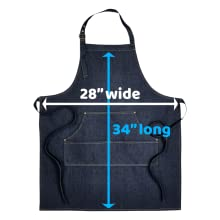 """Customized Personalizable Denim Jean Aprons Dimensions 34"""" by 28"""" Cotton Polyester Twill Material"""