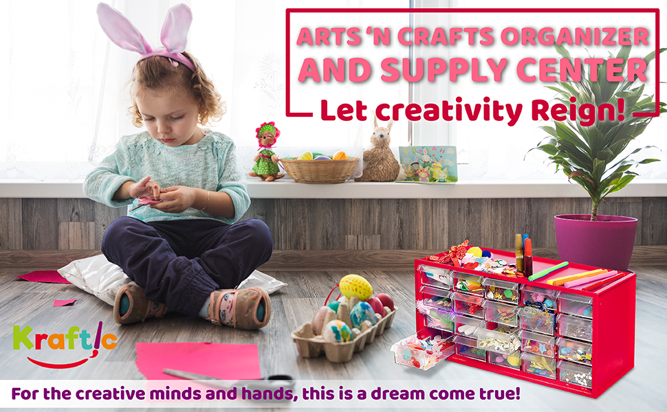 Amazon Com Kraftic Arts Crafts Supplies Center For Kids Craft Supplies Kit Complete With 20 Filled Drawers Of Craft Materials For Toddlers Arts Crafts Sewing