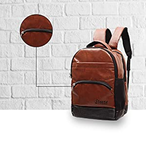 STEEZE Premium Casual Faux Leather Backpack Bag 15.6 inch Laptop USB Charging Port Busines SPN FOR 1