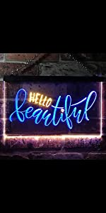 ADVPRO Dual-Color LED Neon Sign Home decor-ation wall Hello Beautiful Gorgeous heart