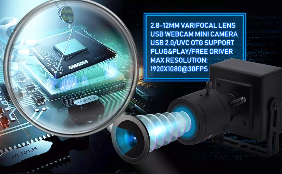 Varifocal lens usb camera 8MP usb webcam mini camera 8