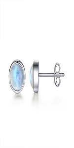 Moonstone stud earring sterling silver