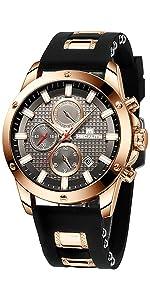 Reloj Cronografo Hombre Negro Marrón