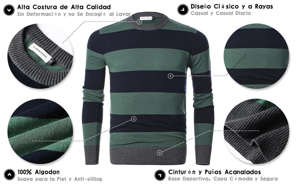 Suéter Hombres Cuello Redondo Tejido de Algodón Cómodo de Rayas de ...