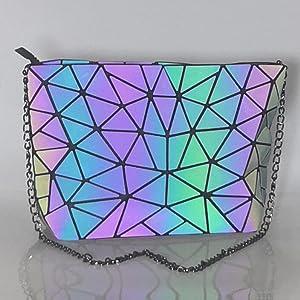 luminous geometric shoulder bag geometric messenger bag chain strap purses geometric crossbody bag