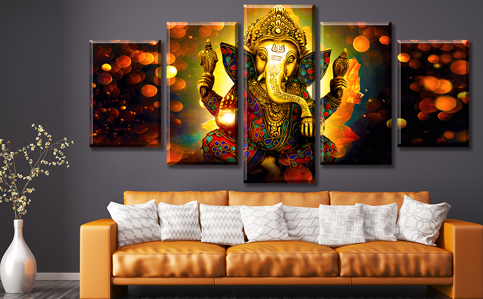 indian decor buddha wall art ganesha hanging elephant canvas painting statues zen modern picture