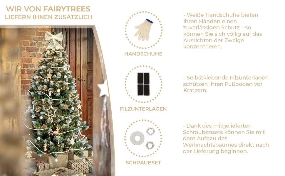 Lieferumfang - künstliche Weihnachtsbäume von FairyTrees