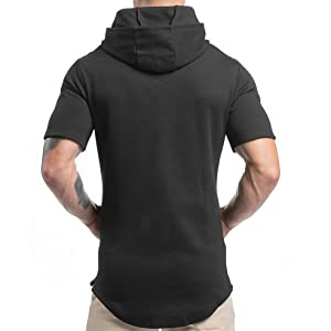 Magiftbox Mens Hip Hop Workout Short Sleeve Hoodies Pullover Hooded Sweatshirts with Pocket T07