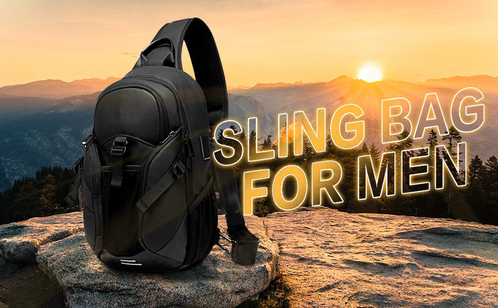 Water-Resistant Sling Bag, USB Mens Crossbody Backpack Casual Shoulder Bag