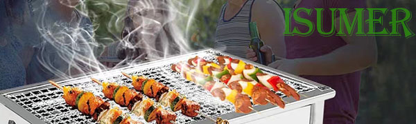 5c58f3e8 f883 4b45 8623 a5229dec1e4a.  CR0,0,600,180 PT0 SX600 V1    - ISUMER Charcoal Grill Barbecue Portable BBQ - Stainless Steel Folding BBQ Kabab Grill Camping Grill Tabletop Grill Hibachi Grill for Shish Kabob Portable Camping Cooking Small Grill