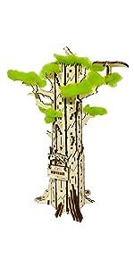 shopG ハイペリオン 木製3D立体パズル セコイアの木 アクセサリー飾り 秘密の宝箱