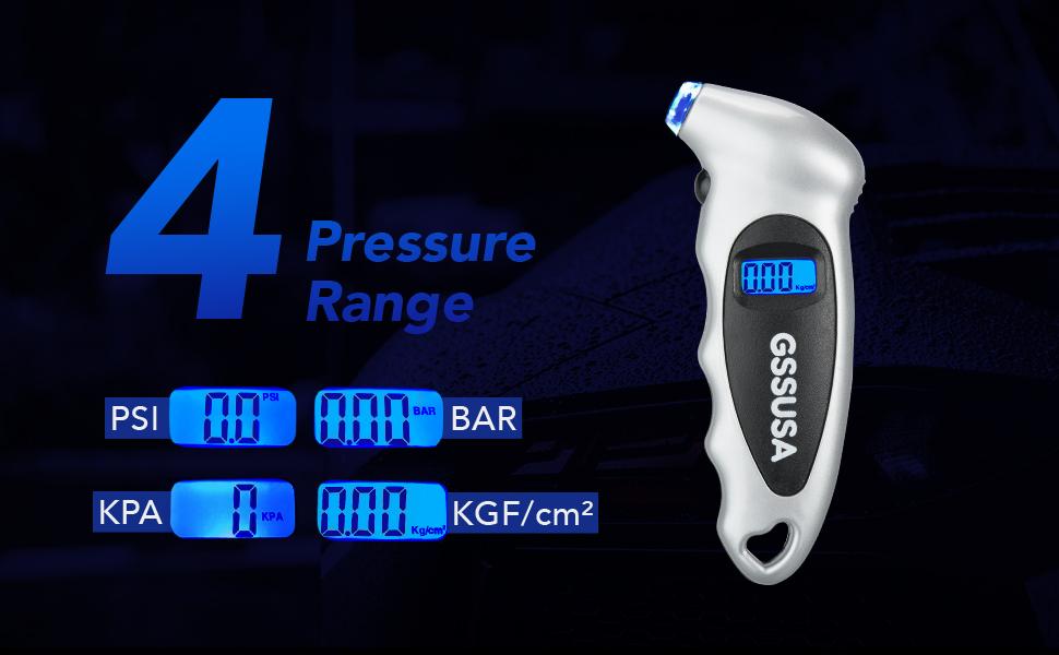 JICHUIO High Precision Digital Tire Pressure Gauge 150 PSI 4 Settings Backlit LCD Non-Slip Grip Tire Gauge for Car Truck Bicycle