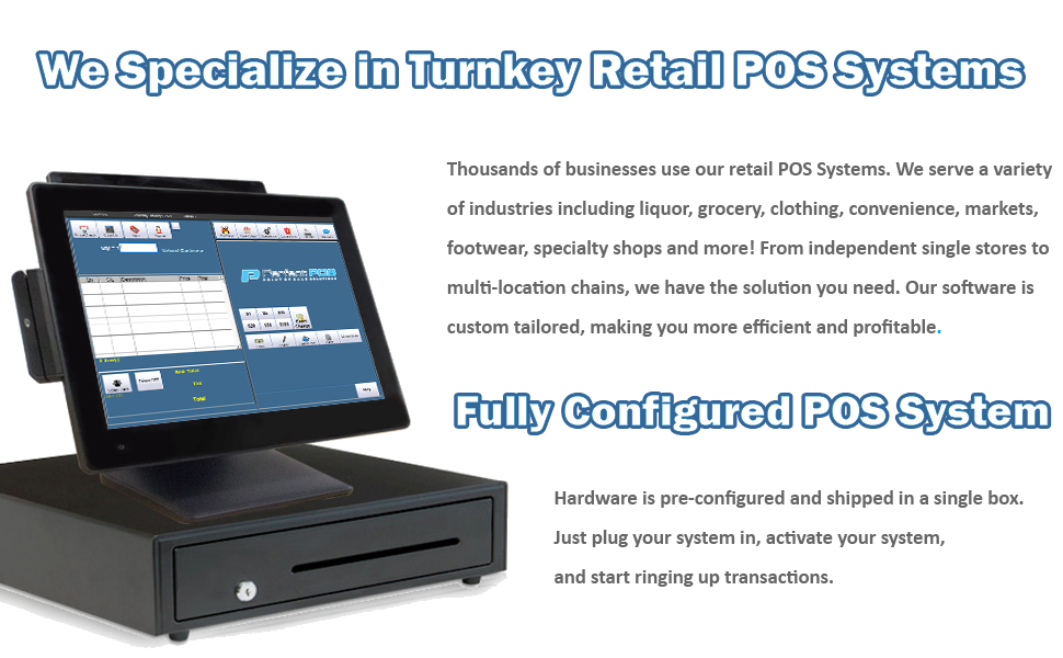 Turnkey Retail POS Systems, Fully Configured, Point of Sale, Cash Register Express
