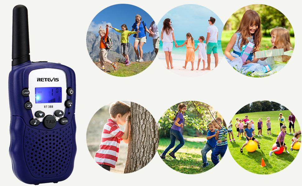Blu,1 Coppia Retevis RT388 Walkie Talkie Bambini PMR446 8 Canali Display LCD VOX Ricetrasmittenti Bambini Torcia Regalo di Compleanno Giocattoli per Bambini Woki Toki per Bambini