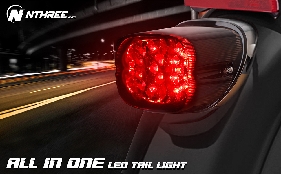 harley Smoked LED Tail Light Brake Integrated Turn Signals Sportster low profile taillights