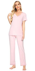 Womens Bamboo Pajama Sets Lightweight Pjs V Neck Sleepwear Short Sleeves