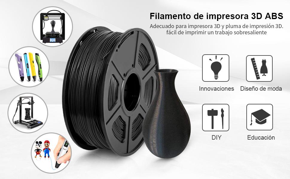 Filamento de impresora 3D ABS, filamento de ABS de 1.75 mm, 1 kg ...