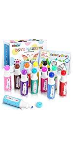 Dot Markers Kit, Ohuhu 8 Colors Paint Marker Water-Based Non-Toxic Bingo Daubers Dot Art Marker