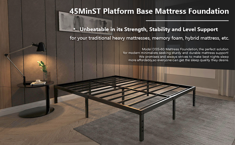 Easy Assembly/Mattress Foundation/Steel Slat/Noise Free/No Box Spring Needed