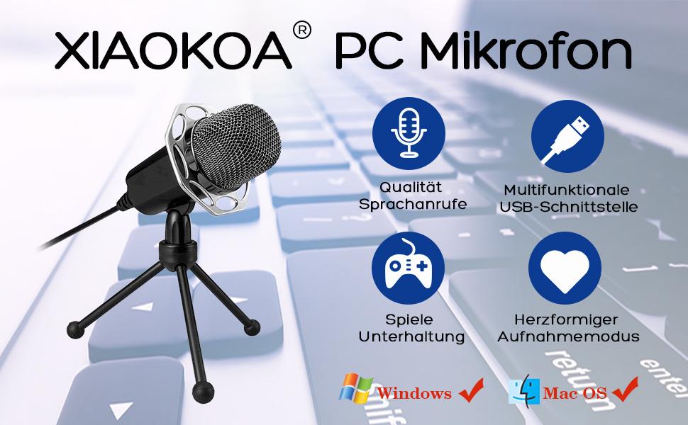 USB 360 ° einstellbares Mikrofon Voice-Chat-Aufnahmemikrofon für PC Mac ED