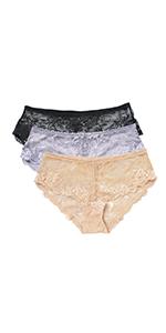 WingsLove Women's 3 Pack Sexy Lace Bikini Panties See Through Seamless Briefs Soft Stretch Underwear