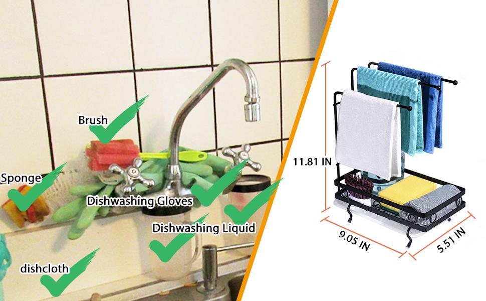 sink  sponge holder kitchen sink caddy holder towel soap organizer