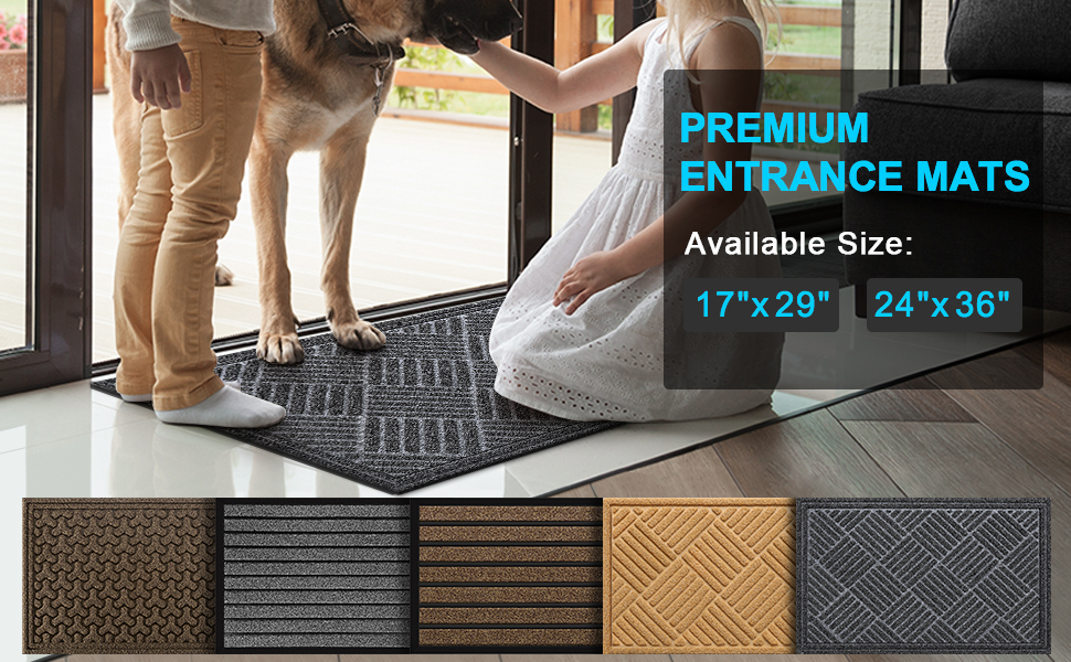 4672inch WJXBoos Rubber Doormat,Large Non-Slip Heavy Duty Catches Water and Debris Shoe Scraper Rug Mud Room Mat Outdoor Patio Garage G 117183cm