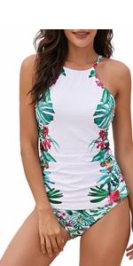 Floral Print High Neck Tankini Tops with Short Swimwear Set