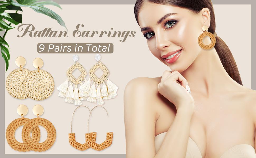 Rattan Tassel Acrylic Earrings