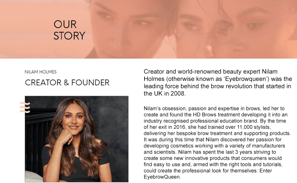 Eyebrow Queen Story, About Us, Nilam Holmes