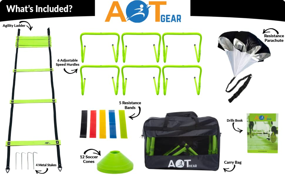 agility ladder agility hurdles running parachute resistance bands training guide soccer cones