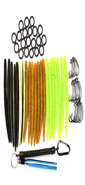 ALUNAR Fishing Lures Kit Mixed Magnum Finesse Wacky Worm Kits with Rig Tool Wacky Rig O-Rings Wacky Hooks and Senko Soft Baits Fishing Accessories Set with Tackle Box
