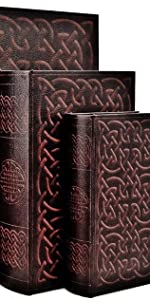 Bellaa 28175 Irish Celtic Knot Book Box Hidden Secret Storage Set of 3