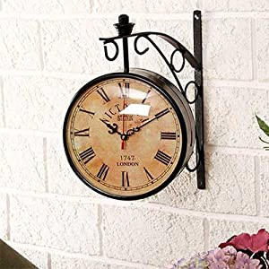 double sided wall clock vintage retro station train railway clock both side clocks for home