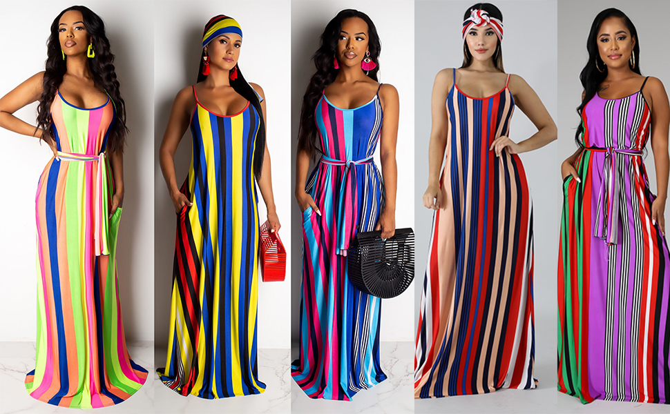 Casual Indoor Outdoor Vacation Clothes Ladies Plus Size Spaghetti Strap Tie Waist Maxi Dresses XXL, Multicolor Women Striped Colorful Dress