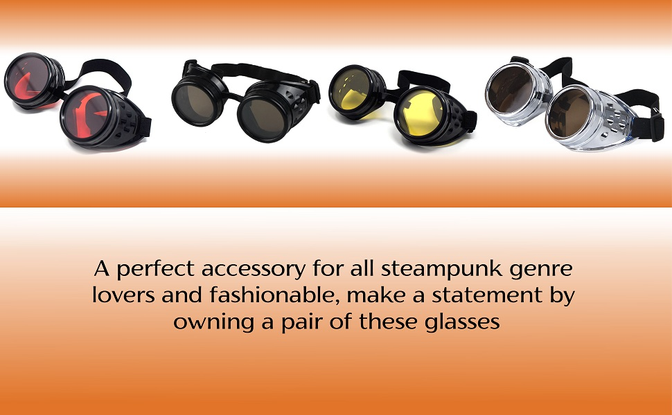 Steampunk Goggles Cyber Glasses Victorian Punk Welding Cosplay Goth Rustic Rivet Rave Round Quality