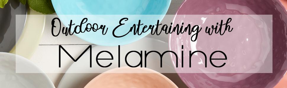 Outdoor Entertaining Melamine Dinnerware Plates Bowls Shatter Scratch Chip Resistant Durable Sets