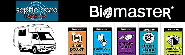 logo biomaster septic care traveller rv holding tank black water treatment