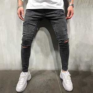 tapered rip fashion men young torn cut straight vintage black fitted designer elastic waist pencil