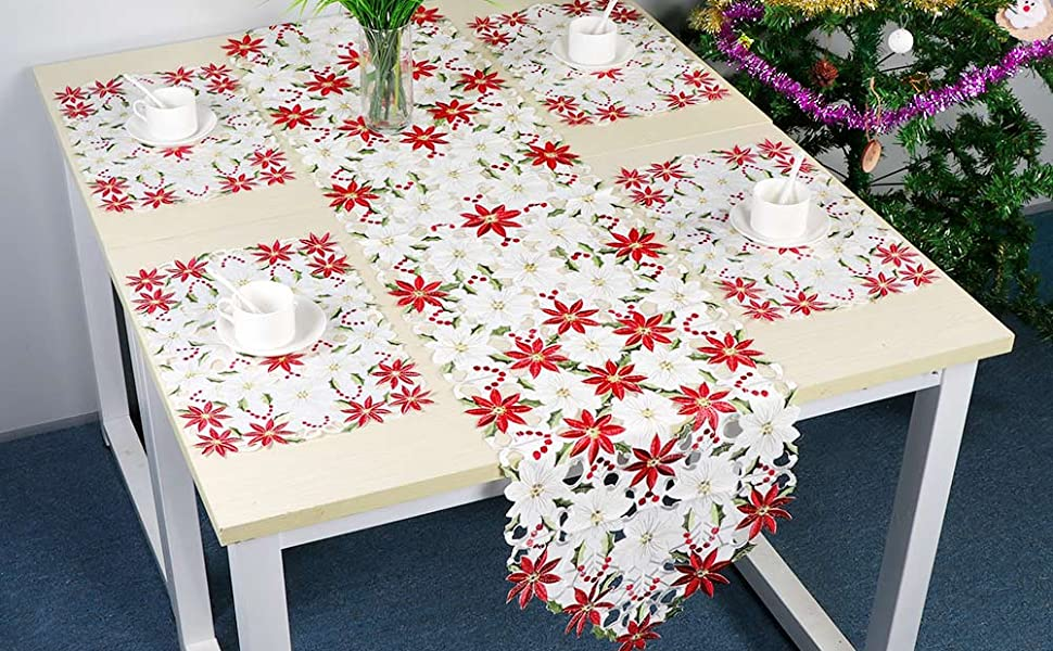 6X Tailor Made Embroidered Christmas Red placemats for Xmas tablecloth