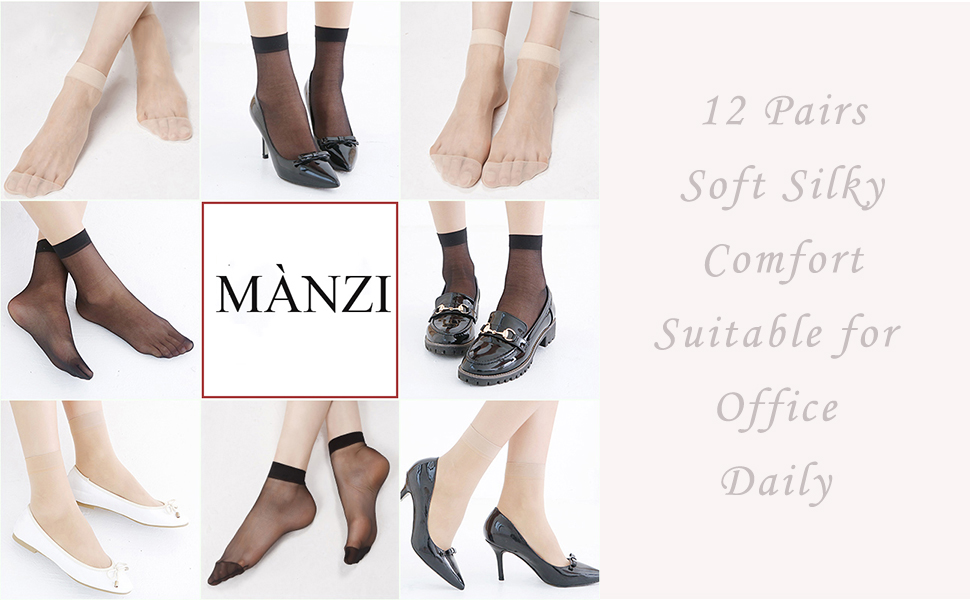 MANZI Womens 12 Pairs Nylon Ankle High Sheer Tights