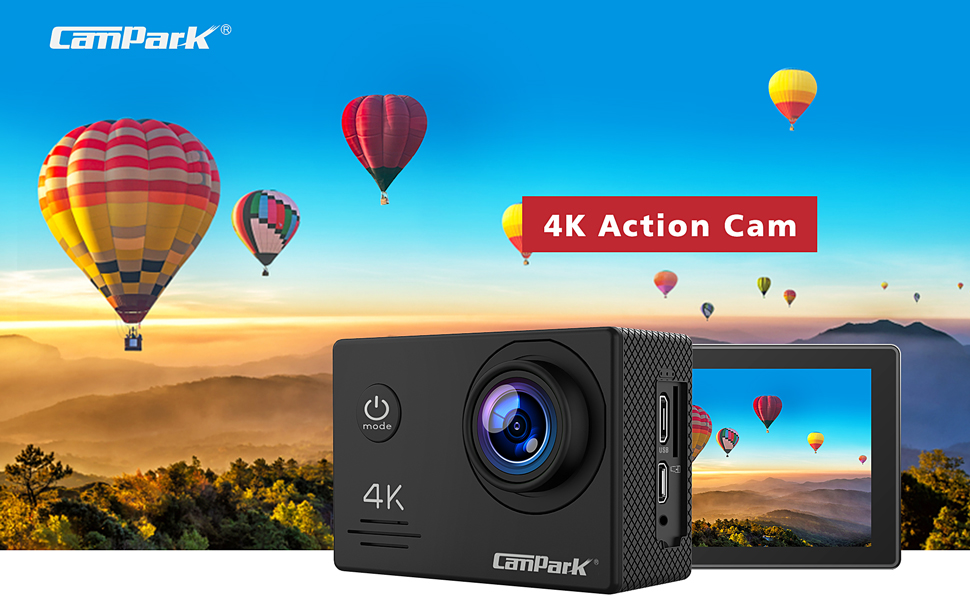 ?2020 Nuova?Campark 4K 20MP Action Cam con EIS Telecomando Microfono Esterno WiFi Videocamera Subacquea 40M 2 Batterie e Kit Accessori (Compatibile con gopro)