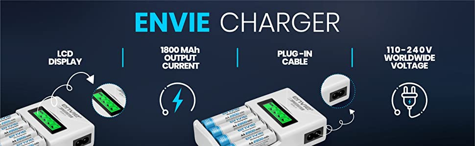 rechargeable aa battery, battery charger, rechargeable aa battery with charger, envie, Duracell