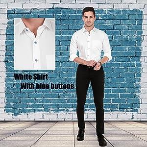 Blue button White shirt