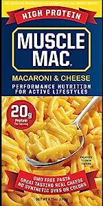 Muscle Mac, Mac amp; Cheese Macaroni Original Box Non-GMO Pasta Added Plant Protein 20g per Serving
