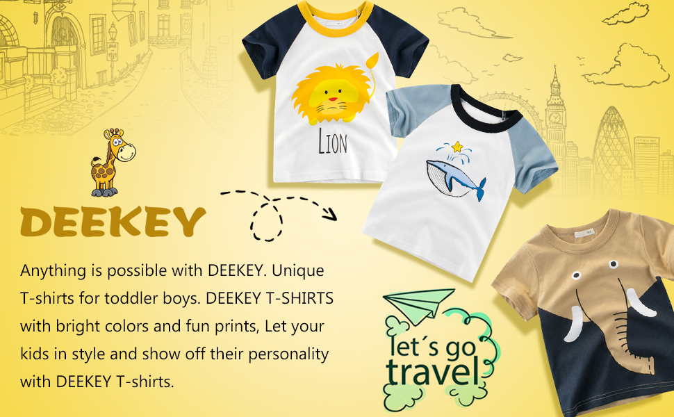 Unique T-shirts for toddler boys. DEEKEY T-SHIRTS with bright colors and fun prints.