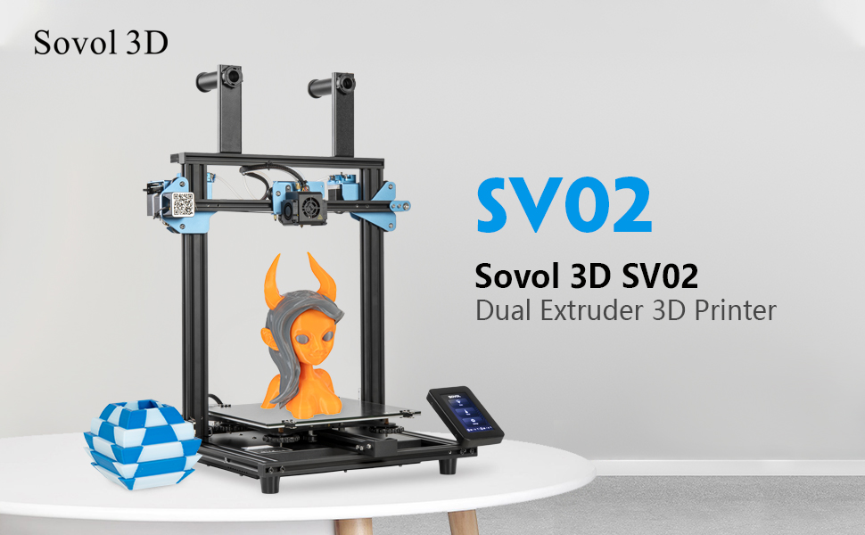 Meanwell Power Supply and 4.3 inch Touchscreen Sovol SV02 3D Printer with All-Metal Dual Extruder Silent Mainboards TMC2208 Drive Printing Size 240 x 280 x 300 mm